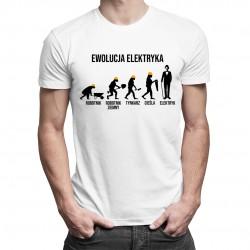 Ewolucja elektryka - męska koszulka z nadrukiem