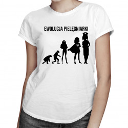Ewolucja pielęgniarki - damska koszulka z nadrukiem