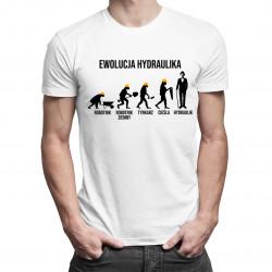 Ewolucja hydraulika - męska koszulka z nadrukiem