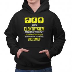 Jestem elektrykiem, rozwiązuję problemy - męska bluza z nadrukiem