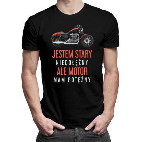 Ten facet jest zajęty przez motocyklistkę - męska koszulka z nadrukiem