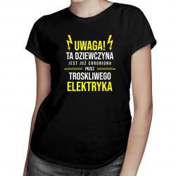 Dziewczyna chroniona przez elektryka - damska koszulka z nadrukiem