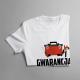 Gwarancja do bramy i się nie znamy - męska koszulka z nadrukiem