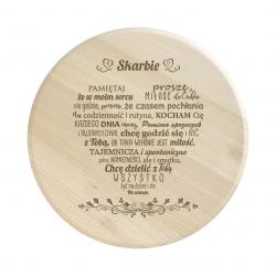 Skarbie - drewniana deska obrotowa z grawerem