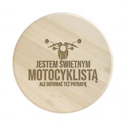 Jestem świetnym motocyklistą, ale gotować też potrafię - drewniana deska obrotowa z grawerem