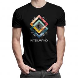 Kitesurfing - nature, spirit, passion, adventure - damska lub męska koszulka z nadrukiem
