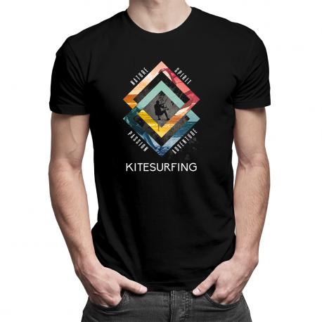 Kitesurfing - nature, spirit, passion, adventure - męska koszulka z nadrukiem