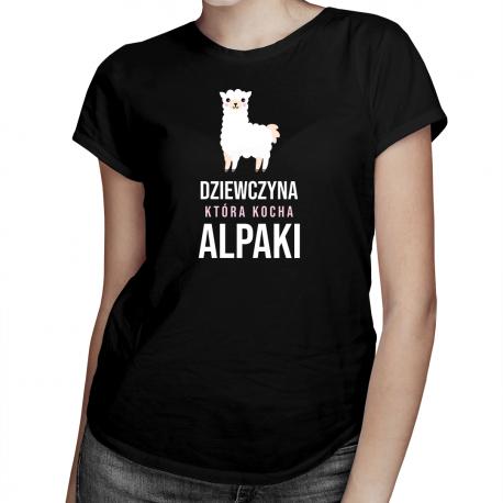 Dziewczyna, która kocha alpaki - damska koszulka z nadrukiem