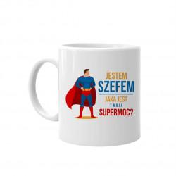 Jestem szefem - jaka jest twoja supermoc? - kubek z nadrukiem