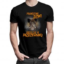 Prawdziwe dziki rodzą się w październiku – męska koszulka z nadrukiem