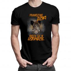 Prawdziwe dziki rodzą się w listopadzie – męska koszulka z nadrukiem