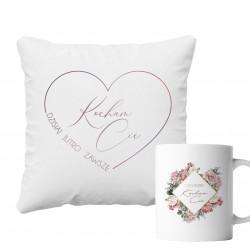 Komplet dla pary - Kocham Cię - poduszka i kubek z nadrukiem