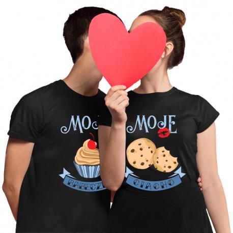 Komplet dla pary - Moja babeczka Moje ciacho - koszulki z nadrukiem