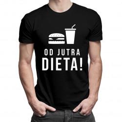 Od jutra dieta - męska koszulka z nadrukiem