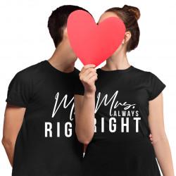 Komplet dla pary - Mr. Right Mrs. Always Right - męska i damska koszulka z nadrukiem