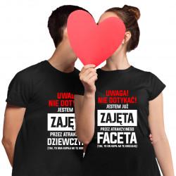 Komplet dla pary - Uwaga, nie dotykać! - męska i damska koszulka z nadrukiem