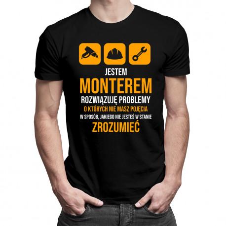 Jestem monterem - rozwiązuję problemy - męska koszulka z nadrukiem