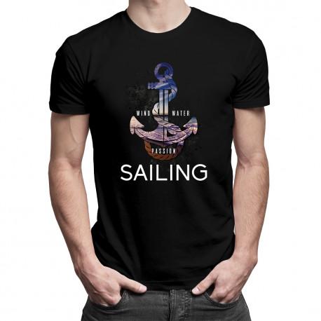 Wind, water, passion, sailing - męska koszulka z nadrukiem