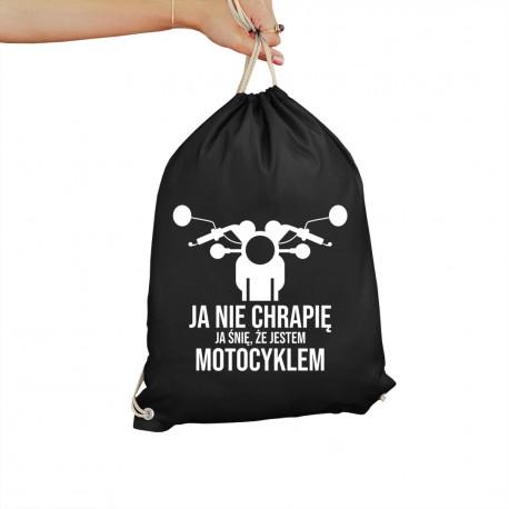 Ja nie chrapię, ja śnię że jestem motocyklem - worko-plecak z nadrukiem