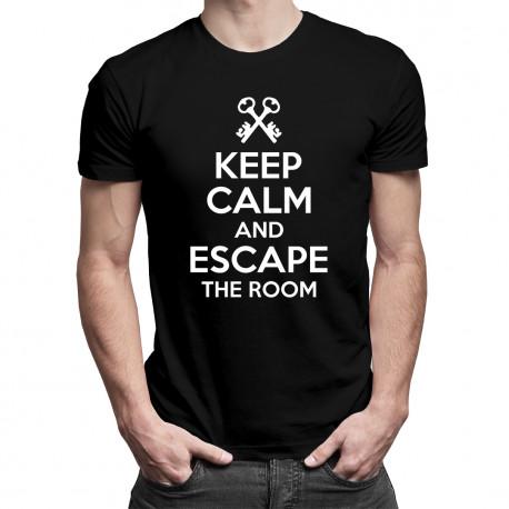 Keep calm and ecape the room - damska lub męska koszulka z nadrukiem