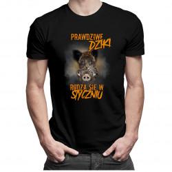 Prawdziwe dziki rodzą się w styczniu – męska koszulka z nadrukiem