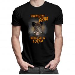 Prawdziwe dziki rodzą się w lutym – męska koszulka z nadrukiem