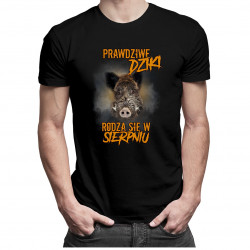 Prawdziwe dziki rodzą się w sierpniu – męska koszulka z nadrukiem