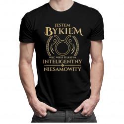 Jestem bykiem, więc wiesz że jestem inteligentny i niesamowity - męska koszulka z nadrukiem