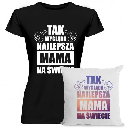 Tak wygląda najlepsza mama na świecie - damska koszulka + poduszka z nadrukiem