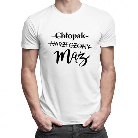 Chłopak - Narzeczony - Mąż - męska koszulka z nadrukiem