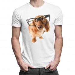 Szczeniak w okularach - męska koszulka z nadrukiem