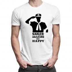 Sailor makes you happy - męska koszulka z nadrukiem