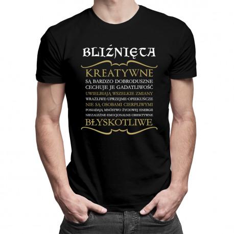 Bliźnięta cechy znaku zodiaku - męska koszulka z nadrukiem