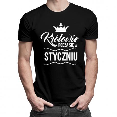 Królowie rodzą się w styczniu - męska koszulka z nadrukiem