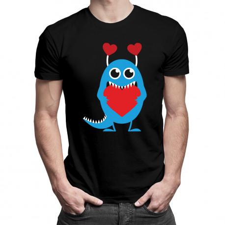 Serduszkowy potworek - męska koszulka z nadrukiem
