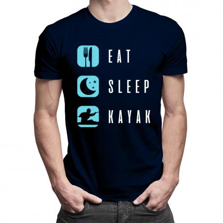 Eat, sleep, kayak - męska koszulka z nadrukiem