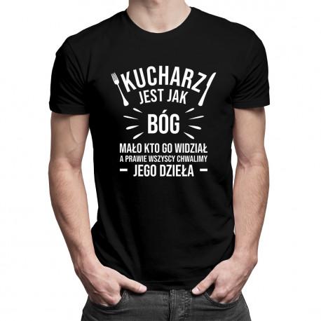Kucharz jest jak bóg - męska koszulka z nadrukiem