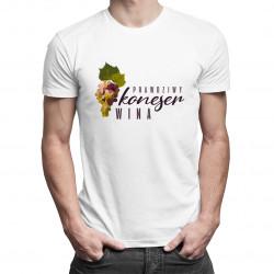 Prawdziwy koneser wina - męska koszulka z nadrukiem