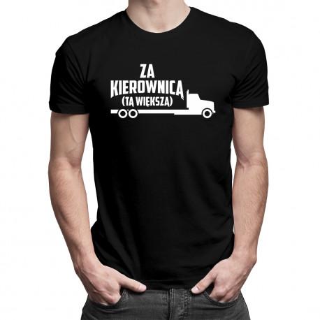 Za kierownicą - tą większą - męska koszulka z nadrukiem