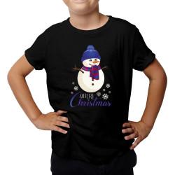 Merry Christmas -bałwanek - koszulka dziecięca z nadrukiem