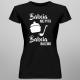 Babcia nie pyta, babcia nalewa - damska koszulka z nadrukiem