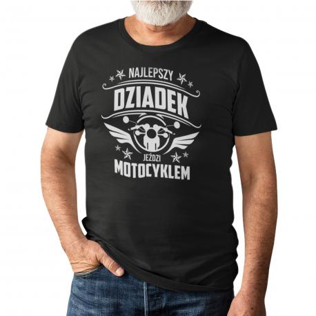 Najlepszy dziadek jeździ motocyklem - męska koszulka z nadrukiem