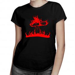 Flame snowboarder - damska koszulka z nadrukiem