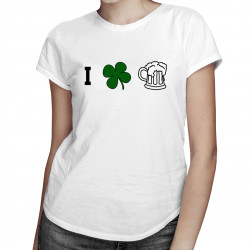 I love beer - damska koszulka z nadrukiem