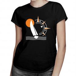 Kompas Jacht - damska koszulka z nadrukiem