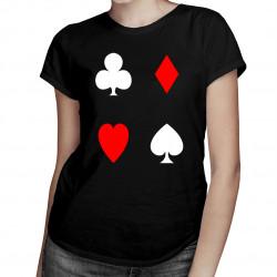 Playing Cards  - trefl, pik, kier, karo - damska koszulka z nadrukiem