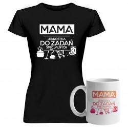 Komplet dla mamy - Mama - jednostka do zadań specjalnych - koszulka + kubek z nadrukiem