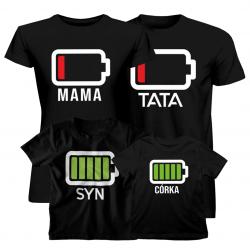 Komplet dla rodziny - Bateria Tata Mama Syn Córka - koszulki z nadrukiem