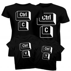 Komplet dla rodziny - Ctrl+C + Ctrl+V - koszulki z nadrukiem