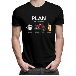 Plan na dzisiaj: kawa, motocykl, piwo - męska koszulka z nadrukiem